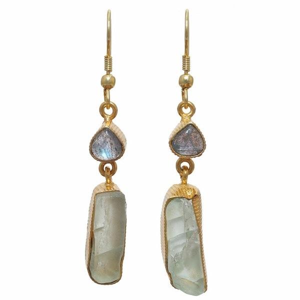 Handmade Labradorite and Fluorite Rough Gem Gold Overlay Earrings - Brown (India)