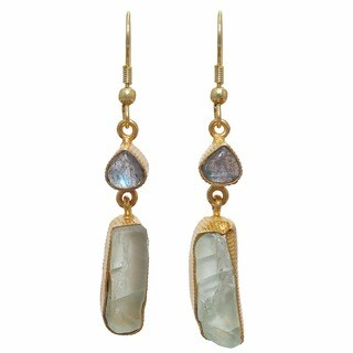 Labradorite and Fluorite Rough Gem Gold Overlay Earrings (India) - Brown