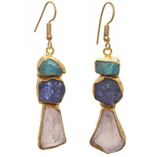 Handmade Aqua, Tanzanite, Rose Quartz Rough Gemstone Gold Overlay Earrings (India)
