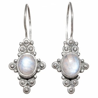 Hand-crafted Sterling Silver 2ct TGW Rainbow Moonstone Earrings (India)