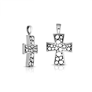 Handmade .925 Sterling Silver Bali Pebbled Texture Cross Pendant (Indonesia)