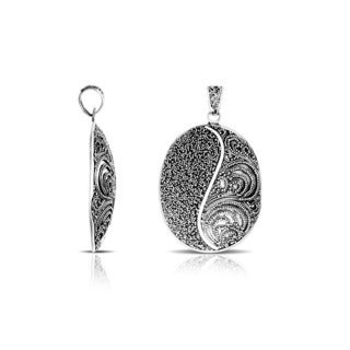 Handmade 925 Sterling Silver Bali Delicate Beads Scroll Work Pendant Indonesia
