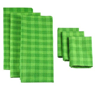 Design Imports Grass Green Plaid 6-piece Dishtowel/ Dishcloth Set