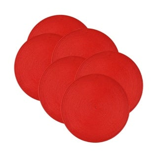 Design Imports Round Braided Tango Red Placemat (Set of 6)
