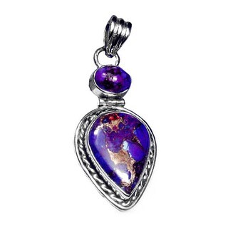 Handmade Sterling Silver Purple Copper Turquoise Pendant (India)
