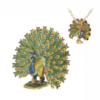 Proud as a Peacock Trinket Box with Pendant