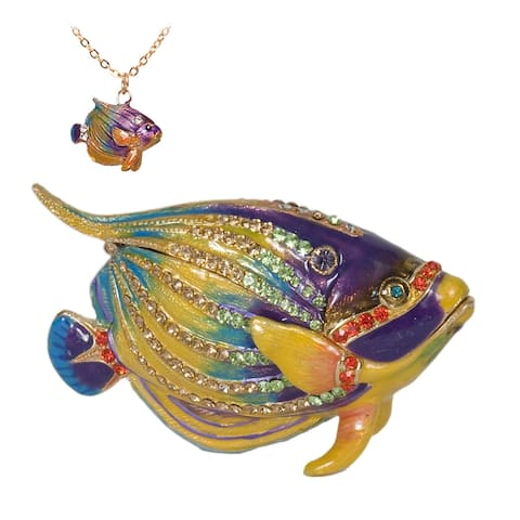 Kaleidoscope Fish Austrian Crystal Trinket Box with Pendant by Versil