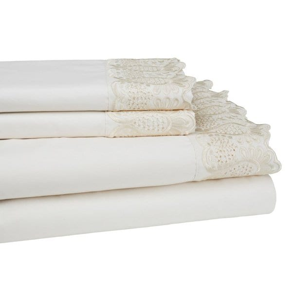 4-piece Microfiber Embroidered Lace Sheet Set