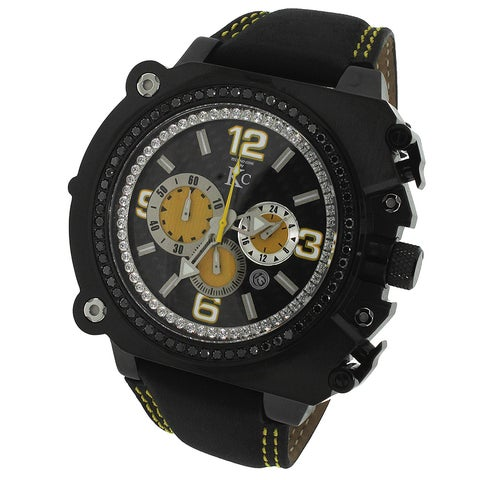 KC Men's Stainless Steel Chronograph Watch, Carbon Fiber Dial 1 3/4ct Genuine Black Diamond Leather-Strap