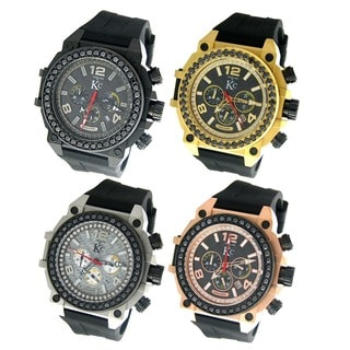 WEG KC Men's Stainless Steel Chronograph Watch Carbon Fiber Dial 4ct Genuine Black Diamond Rubber Strap