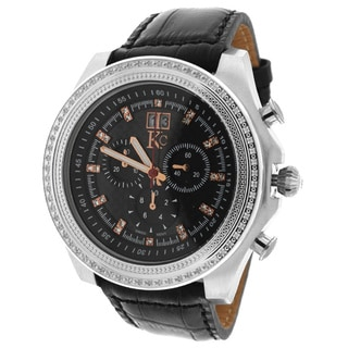 KC Men's WPX Stainless Steel Chronograph Watch Carbon Fiber Dial 70 Round White Diamonds Black Leather Strap