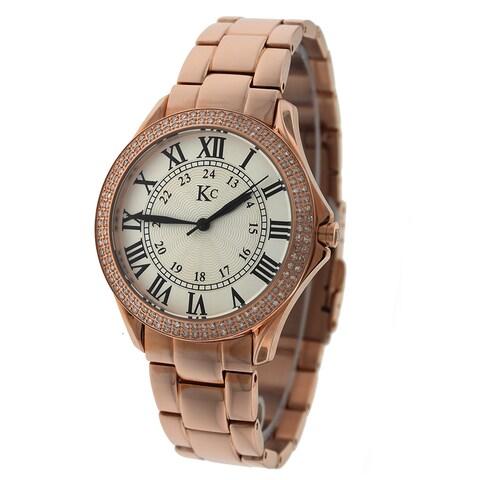 KC Women's Stainless Steel Rose Watch. Swiss Quartz, 132 Round SI Diamond with Metal Bracelet