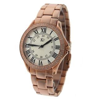 KC Women's WWF Stainless Steel Rose Watch. Swiss Quartz, 132 Round SI Diamond with Metal Bracelet|https://ak1.ostkcdn.com/images/products/9817801/P16983079.jpg?impolicy=medium