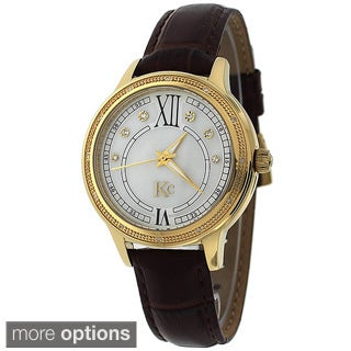 KC Women's WWN Stainless Steel Watch. Japan Quartz, 12 White Brilliant Diamonds with Leather-Strap