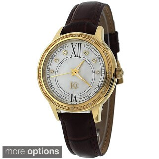 KC Women's Stainless Steel Watch. Japan Quartz, 12 White Brilliant Diamonds with Leather-Strap