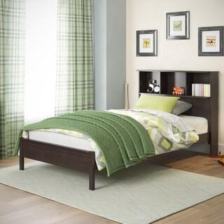 CorLiving Ashland Dark Cappuccino Bed with Bookcase Headboard