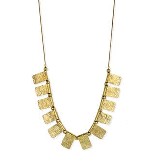 Handmade Goldtone Textured Rectangles Dangle Necklace (India)