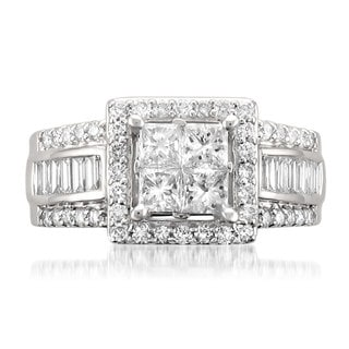 Montebello 14k White Gold 1 3/4ct TDW Princess-cut Diamond Ring