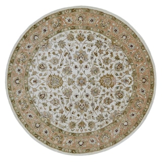 Grand Bazaar Tufted 100-percent Wool Pile Ziba Rug in Ivory/Peach 8' x 8' Round