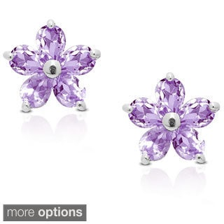 Dolce Giavonna Sterling Silver Gemstone Flower Stud Earrings