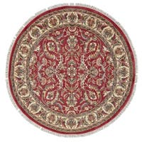 Grand Bazaar Hand-knotted 100-percent Wool Pile Edmonton Rug in Red/Ivory 6' x 6' Round - 6' x 6' Round