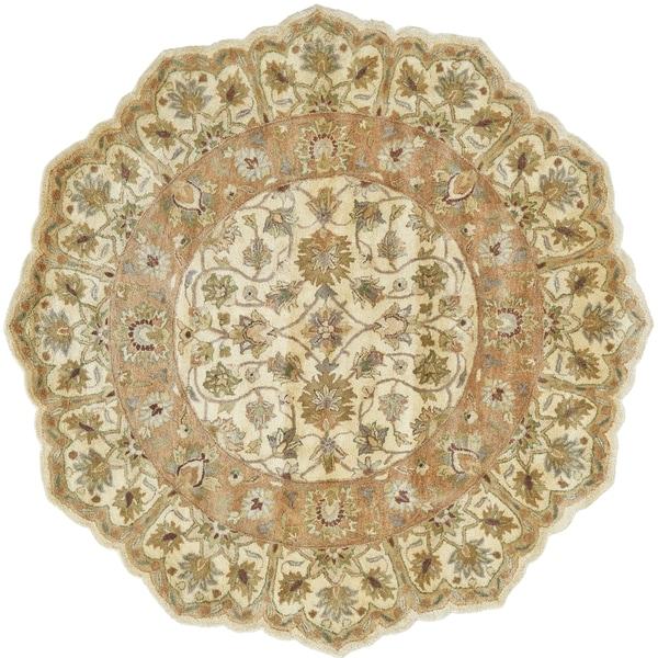 Grand Bazaar Tufted 100-percent Wool Pile Ziba Rug in Ivory/Peach 10' X 10' Round - 10' x 10' Shaped Round