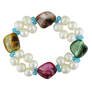 Miadora Cultured Freshwater Multi-color Pearl and Turquoise Crystal Bracelet