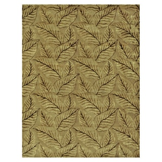 "Grand Bazaar Hand-knotted Wool & Art Silk Leafscape Rug in Sage/Green 9'-6"" x 13'-6"""