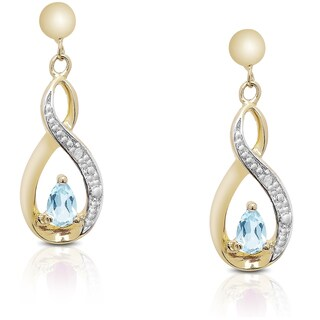 Dolce Giavonna Gold Over Sterling Silver Blue Topaz and Diamond Accent Infinity Design Earrings