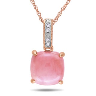 Miadora 10k Rose Gold Pink Opal and Diamond Accent Necklace