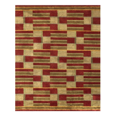 "Grand Bazaar Hand-knotted Wool & Art Silk Keystone Rug in Gold 8'-6"" x 11'-6"" - 8'6"" x 11'6"""
