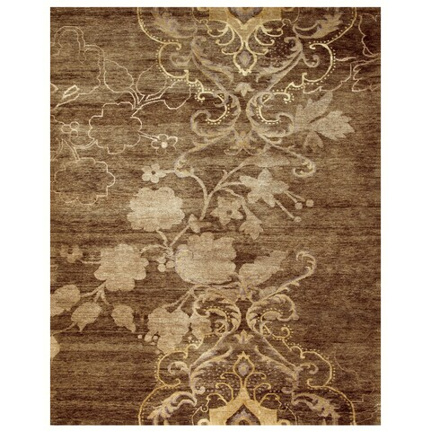 "Grand Bazaar Hand-knotted Wool & Art Silk Qing Rug in Brown 8'-6"" x 11'-6"" - 8'6"" x 11'6"""