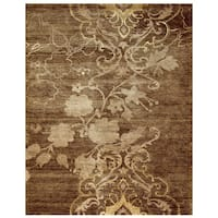 Grand Bazaar Hand-knotted Wool & Art Silk Qing Area Rug in Brown (8'6 x 11'6)