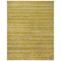 Grand Bazaar Hand-knotted Wool & Art Silk Qing Area Rug in Yellow (8'6 x 11'6)