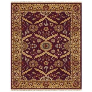 "Grand Bazaar Hand-knotted 100-percent Wool Pile Pietra Rug in Plum/Gold 8'-6"" x 11'-6"" - 8'6"" x 11'6"""