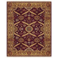 Grand Bazaar Hand-knotted 100-percent Wool Pile Pietra Area Rug in Plum/ Gold (8'6 x 11'6)