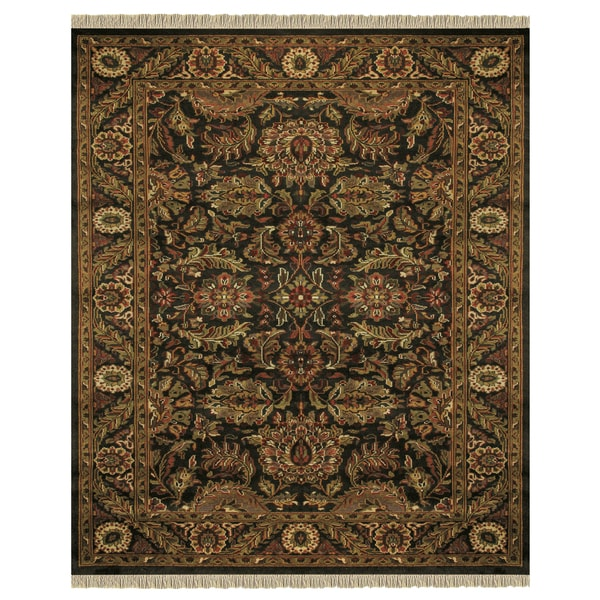 """Grand Bazaar Hand-knotted 100-percent Wool Pile Edmonton Rug in Charcoal/Charcoal 8'-6"""" x 11'-6"""" - 8'6"""" x 11'6"""""""