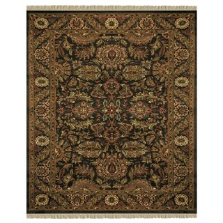 """Grand Bazaar Hand-knotted 100-percent Wool Pile Edmonton Rug in Charcoal/Charcoal 8'-6"""" x 11'-6"""""""