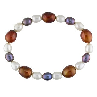 Miadora White, Black and Brown Cultured Freshwater Pearl Elastic Bracelet (6-9 mm)