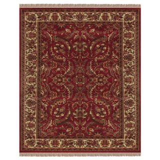"""Grand Bazaar Hand-knotted 100-percent Wool Pile Edmonton Rug in Red/Ivory 8'-6"""" x 11'-6"""""""