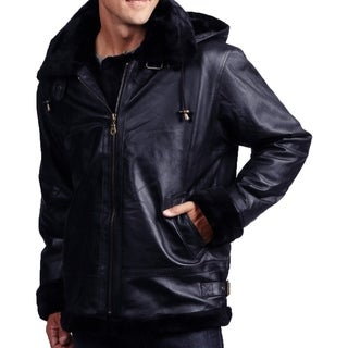 Men's Navy Leather Shearling Bomber Jacket with Detachable Hood