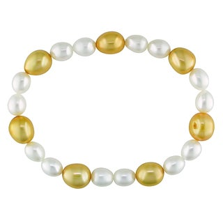 Miadora White and Orange Cultured Freshwater Pearl Elastic Bracelet (6-9 mm)