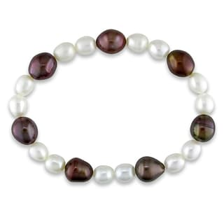 Miadora Cultured Freshwater White and Brown Pearl Elastic Bracelet