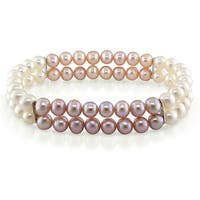 Miadora Silvertone Cultured Freshwater Pink and White Pearl Bracelet (5mm)