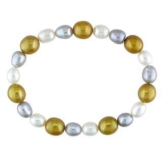 Miadora Cultured Freshwater Multi-color Pearl Elastic Bracelet