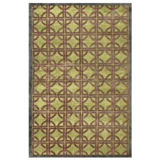 "Grand Bazaar Hand-knotted Wool & Viscose Dim Sum Rug in Key Lime 8'-6"" x 11'-6"""