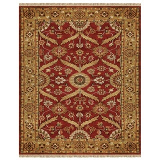 "Grand Bazaar Hand-knotted 100-percent Wool Pile Pietra Rug in Red/Gold 7'-9"" x 9'-9"""