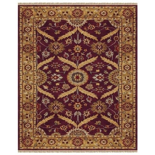 """Grand Bazaar Hand-knotted 100-percent Wool Pile Pietra Rug in Plum/Gold 7'-9"""" x 9'-9"""""""