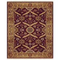 "Grand Bazaar Hand-knotted 100-percent Wool Pile Pietra Rug in Plum/Gold 7'-9"" x 9'-9"" - 7'-9"" x 9'-9"""