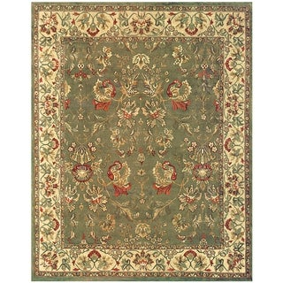 Grand Bazaar Hand-knotted 100-percent Wool Pile Tamara Rug in Olive/Ivory 8' X 11'